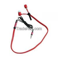 Fashionable In-ear Zipper Novelty Earphones, Various Colors, Mic Optional, Logo Imprint Welcomed