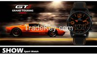 Men's Fashion Black Stainless Steel Luxury Sport Analog Quartz Wrist W