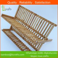 Eco-Freindly  Bamboo Organizer Folding Dish Rack/Holders