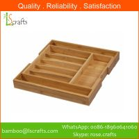 Eco-Freindly Bamboo Expandable Cutlery Utensil Storage Tray