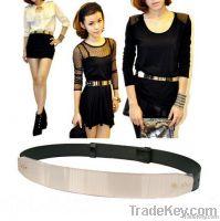 black metal  keeper metallic bling kim gold mirror belt corset