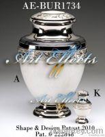 Empire White Enamel Brass Cremation Urn