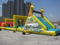 Long inflatable obstacle slide