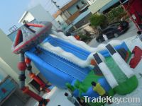 Long inflatable slide