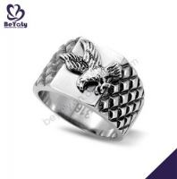 Exquisite engraved eagle design fashion jewelry stainless steel rings for men