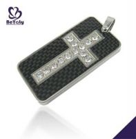 celtic jewelry fashion cross design with CZ and carbon fiber stainless steel pendant for men