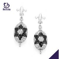 fashion jewelry women gifts flur de lis design AAA CZ 925 sterling silver earrings