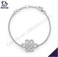 fashion jewelry women gifts beautiful knot design AAA CZ 925 sterling silver bracelet