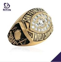 18K gold plating brass CZ jewelry souvenir replica custom chamionship rings