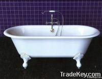 Cast iron clawfoot enamel bathtub