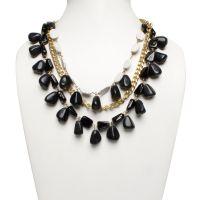 Black White Mud-Bead Metal Multi-Strand Necklace