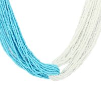Twined Tantalizer Metal Seed Bead Multi-Strand Necklace