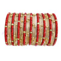 Red N Gold Shimmer Metal Seed Bead Bangle