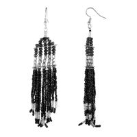 Trendy Fashionable Alloy Metal Black Silver Bead Tassel Drop Earrings (1 Pair)