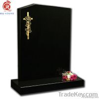 all polished Shanxi black offset peon top cemetery memorial monument