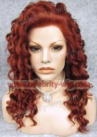 red synthetic curly hair lace front wigs