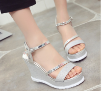Ladies Fashion High Wedge Sandals shoes for summer with high quality PU with good price