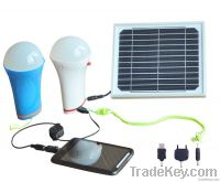 Multi-function portable solar led light bulb with mobile phone charge