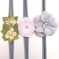 Baby Girls Newborn Headbands Hairband Flower HeadBand 3 PCs Set