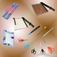 paper trimmer, stationery scissors, paper fasteners
