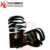 Artificial leather black boxing gloves with zebra printing, available in all sizes and custom logo offer