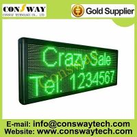 CE approved led messages display with Green color and size 104cm(W)*40cm(H)*7cm(D)