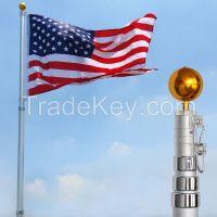 16Ft Telescoping Flagpole w/ 3x5'  Flag Kit Outdoor Gold Ball Aluminum