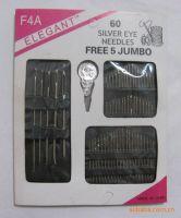 sewing needle kit, 60pcs silver eye needles kit