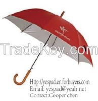"23""x8K Straight Auto Polyester Silver Coating Umbrella,Advertising Umbrella"