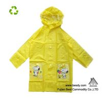 100% kids pvc waterproof yellow raincoats