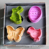 4pcs Plastic Easter theme plunger cutter set(4clorways at random), Ester egg turkey butterfly rabbit shapes