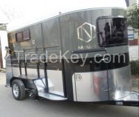 2 horse straight load trailer with kitchenette bunk beds inside