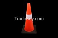 Fluoresent orange PVC road traffic cones with reflective collars black base