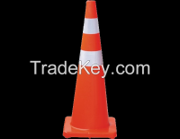 Fluoresent orange PVC road traffic cones with reflective collars 90cm