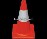 Fluoresent orange PVC road traffic cones with reflective collars