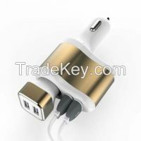 Wholesale 3 in 1 USB car charger, dual usb car charger with cigarette socket