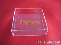 high purity clear silica glass container with lid