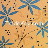 Digitally seamless designed laminate sheet with glitters