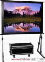 Fast folding projector screen with front and rear projection