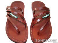 Brown Decor Rainbow Leather Sandals
