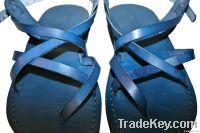 Blue Triple Leather Sandals