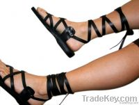 Black Gladiator Leather Sandals