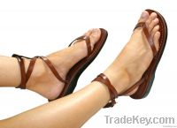 Brown Ankle-Strap Leather Sandals