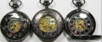 All Black Hollow Roman Dial Mechanical Pocket Watch Fob