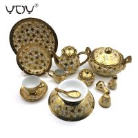 Eletrocplating golden 76pcs porcelain bone china dinner set royal pakistan ceramic sets