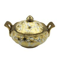 Eletrocplating golden soup bowl Ceramic Big Soup Turren With Lid For Kitchen