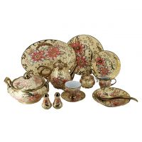 Eletrocplating golden 82pcs porcelain bone china dinner set royal pakistan ceramic sets