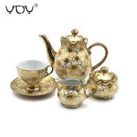 Eletrocplating golden 17pcs porcelain teaset  pakistan