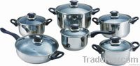 12pcs stainless steel straight body cookware set