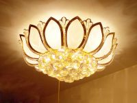 Crystal Ceiling Lamp with shade of lotus, Bedroom Lamp, LivingRoom Lamp